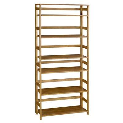 67 in. Medium Oak Wood 6-shelf Foldabe Standard Bookcase
