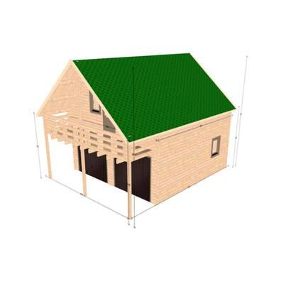 Balcony Garage D.I.Y. 2 Story Log Garage Building Kit