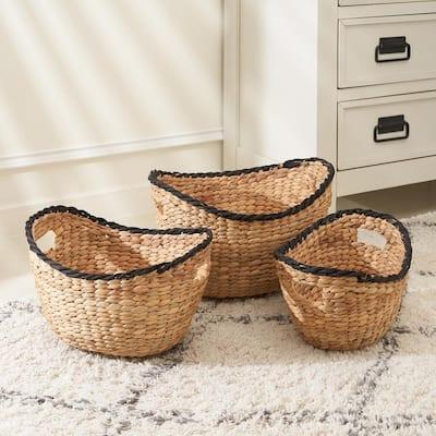 Eliana Stackable Boaty Hand-Woven Water Hyacinth Storage Decorative Basket Set