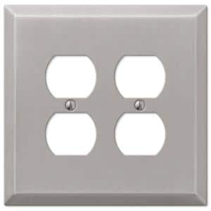 Oversized 2 Gang Duplex Steel Wall Plate - Brushed Nickel