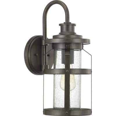 Haslett Collection 1-Light Antique Pewter Clear Seeded Glass Farmhouse Outdoor Medium Wall Lantern Light