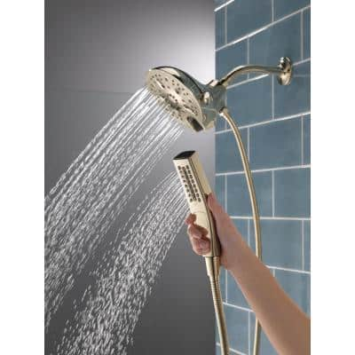 In2ition 5-Spray 6.06 in. Wall Mount Dual Shower Heads with H2Okinetic Technology in Polished Nickel