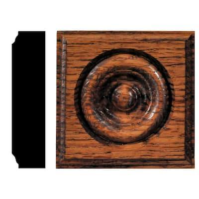 7/8 in. x 3-1/2 in. x 3-1/2 in. Oak Chestnut Stained Rosette Block Moulding