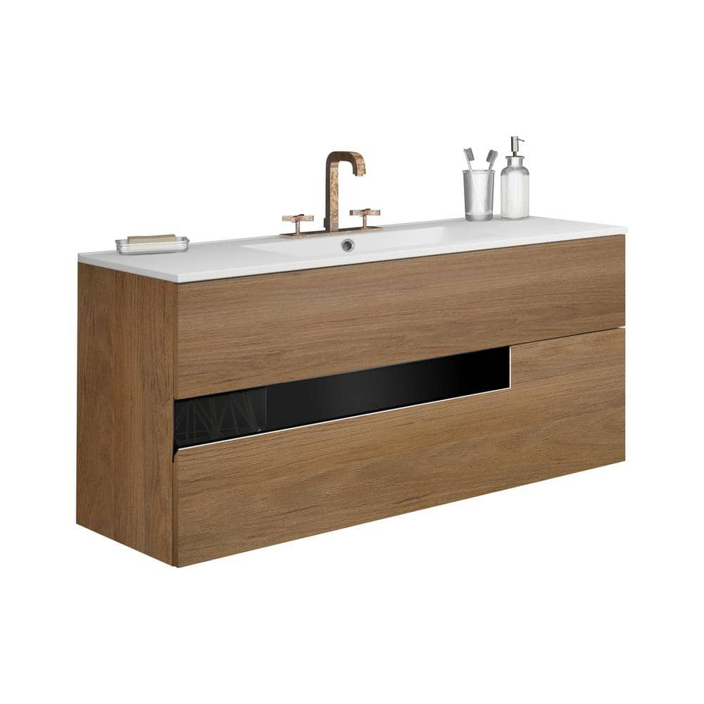 Lucena Bath Vision 32 In W X 18 In D Bath Vanity In Canela And Black With Ceramic Vanity Top In White With White Basin And Sink 3068 The Home Depot