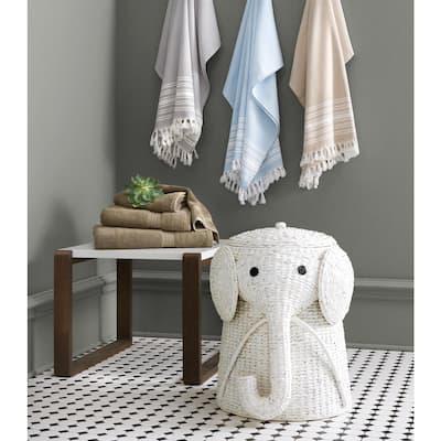 18 in. W Animal Laundry Hamper in White