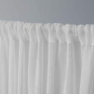 Winter White Linen Rod Pocket Sheer Curtain - 50 in. W x 63 in. L (Set of 2)