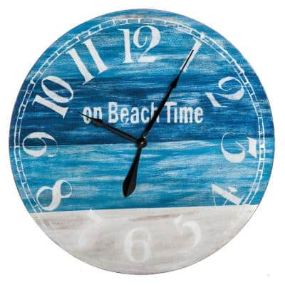 """On Beach Time 30"""" Round Wooden Wall Clock"""