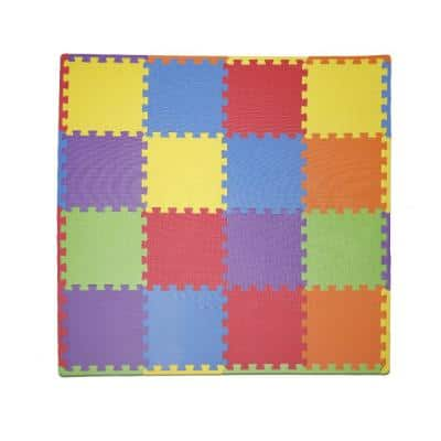 "Soft EVA Foam Mat Flooring Tiles, Multicolor, 16 PC, 12"" x 12"", 16 sq. ft."