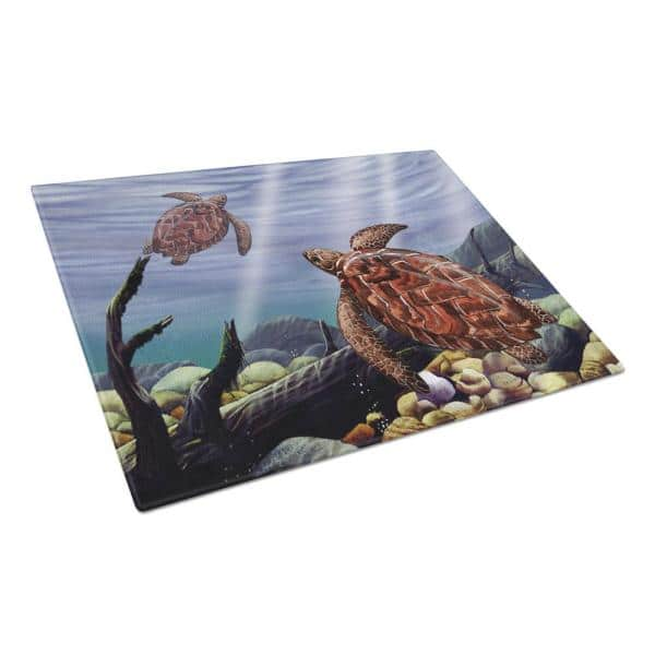 Caroline S Treasures Sea Turtles Tempered Glass Large Heat Resistant Cutting Board Ptw2042lcb The Home Depot