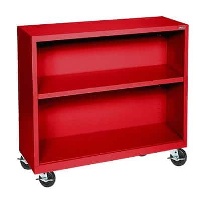 36 in. Red Metal 2-shelf Cart Bookcase with Adjustable Shelves
