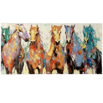 28 in. x 56 in. Race Ready Horses Natural Canvas Wall Art