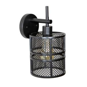 Rixon 11 in. Black Mesh Shade 1-Light Wall Sconce