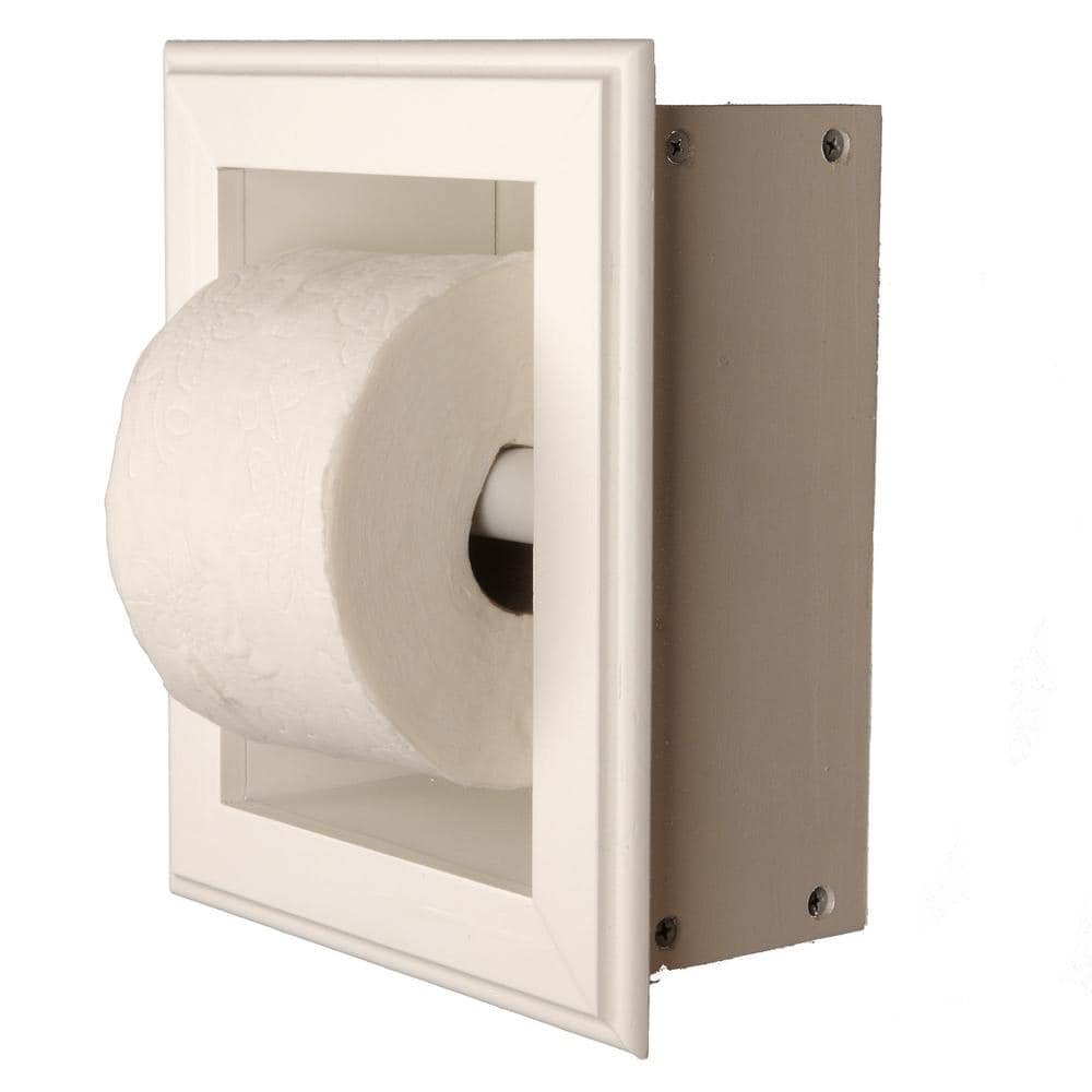 Wg Wood Products Newton Recessed Toilet Paper Holder 21 Holder In White Wall Hugger Frame Tp 21 White The Home Depot