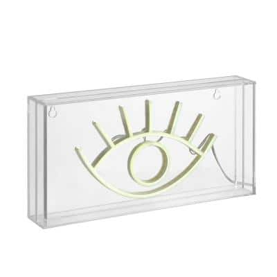 Eye 5.9 in. Yellow Contemporary Glam Acrylic Box USB Operated LED Neon Lamp