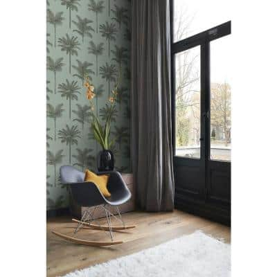 Taj Sage Palm Trees Wallpaper Sample