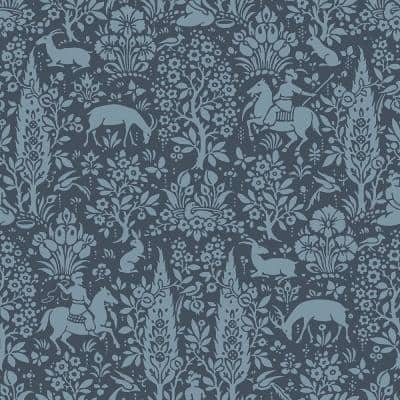 Sherwood Dark Blue Woodland Peelable Wallpaper (Covers 56.4 sq. ft.)