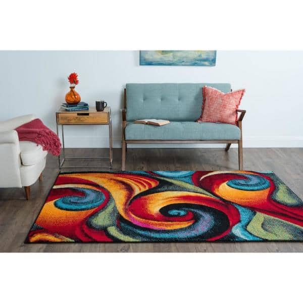 Tayse Rugs Symphony Multi 5 Ft X 7 Ft Contemporary Area Rug Smp1001 5x8 The Home Depot
