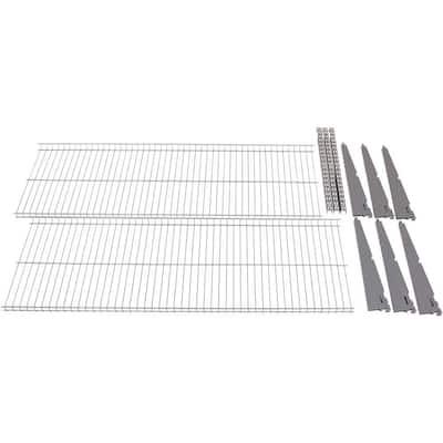 FastTrack 16 in. x 48 in. Steel Garage Wall Shelving in Silver (2-Pack)