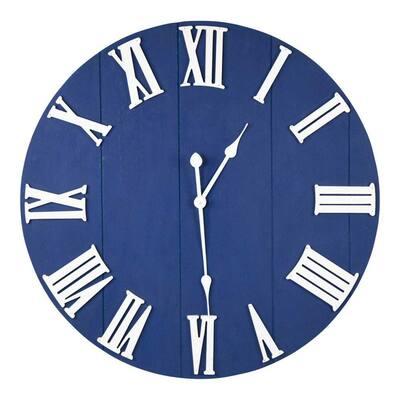 Victoria Round Blue Wall Clock Decor