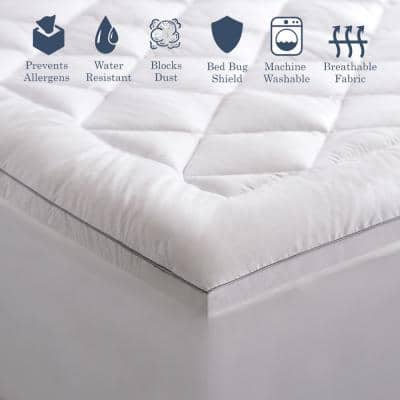 Hypoallergenic Allergen Barrier Down Alternative Fill Full Mattress Pad