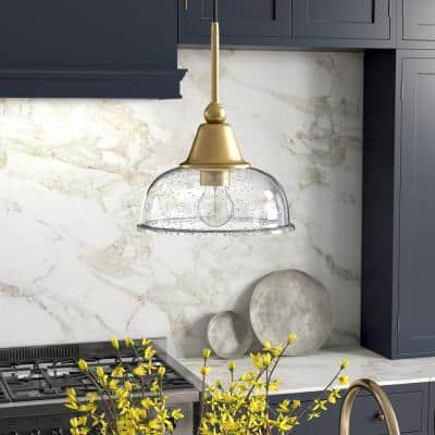 Magnolia 1-Light Brass Single Pendant with Seeded Glass Shade