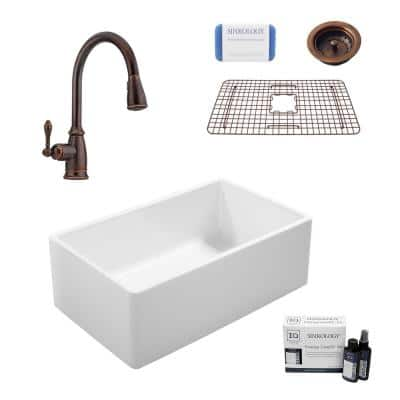 Ward All-in-One Farmhouse Fireclay 33 in. Single Bowl Kitchen Sink with Pfister Faucet in Bronze and Strainer Drain