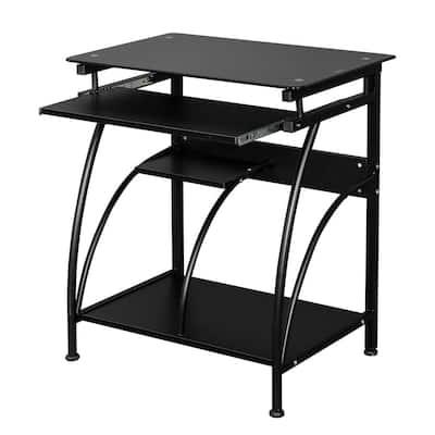 29.5 in. Retangular Black Stalinite Computer Desk with Keyboard Stand