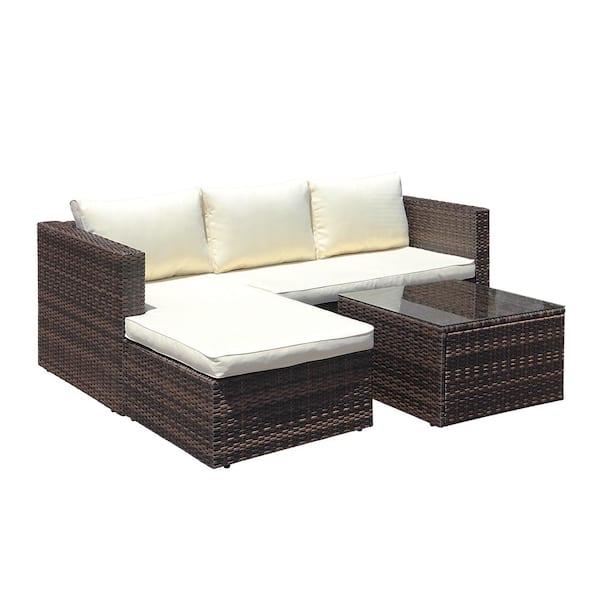Maypex Brown 3 Piece Wicker Outdoor, Patio Furniture 3 Piece Sectional Sofa Resin Wicker Beige