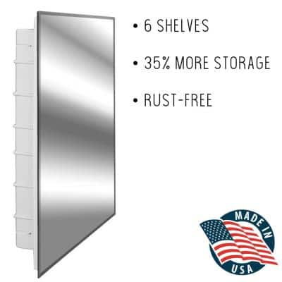 Spacecab 16 in. x 26 in. x 3-1/2 in. Frameless Recessed 1-Door Medicine Cabinet with 6-Shelves and Beveled Edge Mirror
