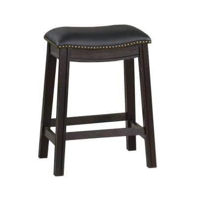 24 in. H Black Curved Leatherette Counter Stool with Nailhead Trim (Set of 2)