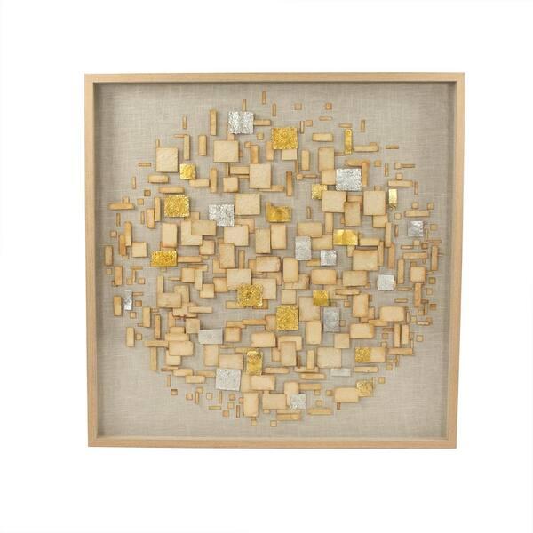 Zentique Abstract Gold Paper Framed Wall Art By Zentique Zen39029 The Home Depot
