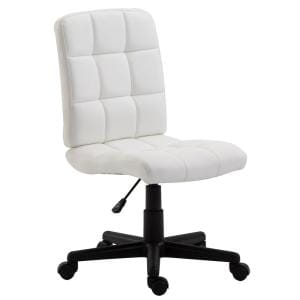 Eva 17 in. Width Standard White Faux Leather Task Chair with Adjustable Height
