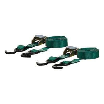 15' Dark Green Cargo Straps with S-Hooks (300 lbs., 2-Pack)