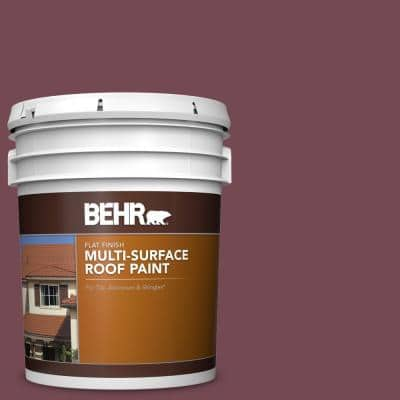 5 gal. #PPU2-20 Oxblood Flat Multi-Surface Exterior Roof Paint