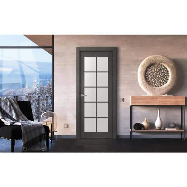 Belldinni 30 In X 80 In Avanti Black Apricot Finished Solid Core Wood 10 Lite Frosted Glass Interior Door Slab No Bore 091009 The Home Depot