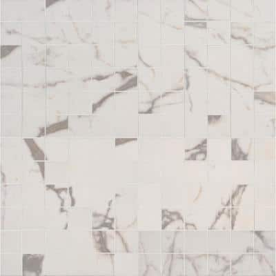 White Vena 12 in. x 12 in. Glazed Ceramic Mesh-Mounted Mosaic Tile (8 sq. ft./Case)