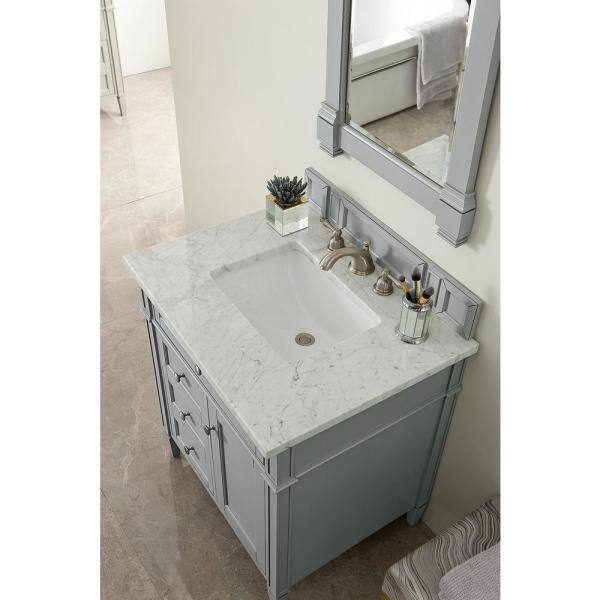 James Martin Vanities Brittany 30 In W Single Bath Vanity In Urban Gray With Marble Vanity Top In Carrara White With White Basin 650v30ugr3car The Home Depot