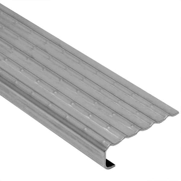 Schluter Systems Trep Ek Stainless Steel 1 8 In X 4 Ft 11 In Metal Stair Nose Tile Edging Trim Tek 150 The Home Depot