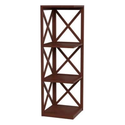 38.25 in. Brown Wood 4-shelf Corner Etagere Bookcase with Open Storage