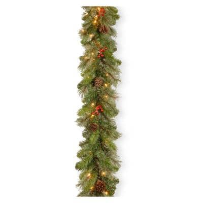 Cashmere Berry 9 ft. Garland with Clear Lights