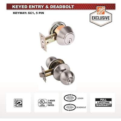 Standard Duty Commercial Satin Chrome Keyed Entry Door Knob with Single Cylinder Deadbolt Combo