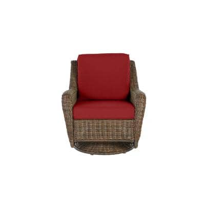 Cambridge Brown Wicker Outdoor Patio Swivel Rocking Chair with CushionGuard Chili Red Cushions