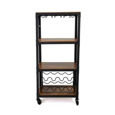 8-Bottle, 4-Tier Black/Wood Metal Food and Wine Cart with Wine Glass and Bottle Storage