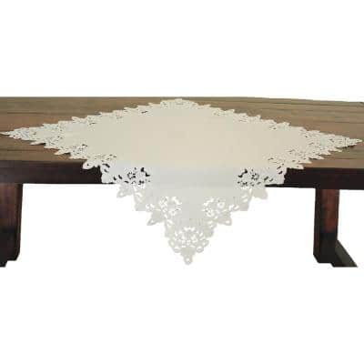 34 in. x 34 in. Ivory Victorian Lace Embroidered Cutwork Table Topper