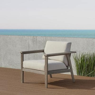 Speer Gray Wash Eucalyptus Outdoor Casual Lounge Chair with Taupe Cushions