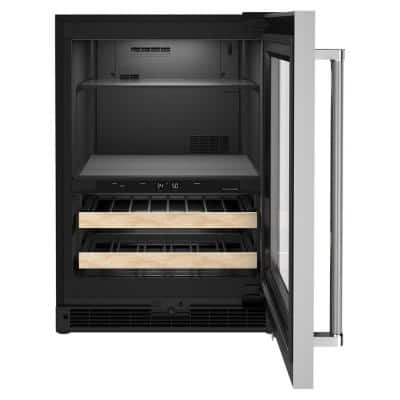 24 in. 14-Bottle Wine and Beverage Cooler in Black Cabinet with Stainless Door