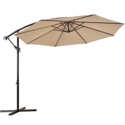 10 ft. Iron Cantilever Tilt Patio Umbrella in Beige with Stand