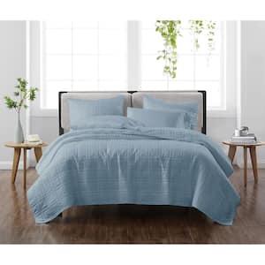 Solid Blue King 3-Piece Quilt Set