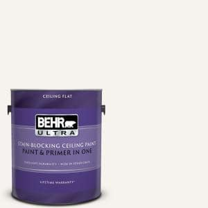 Behr Ultra 1 Gal Ultra Pure White Ceiling Flat Interior Paint And Primer In One 555801 The Home Depot