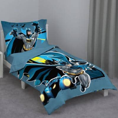 Batman - Multicolor 4-Piece Toddler Bed Set - Comforter, Flat Top Sheet, Fitted Bottom Sheet, Reversible Pillowcase